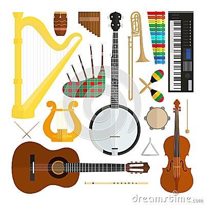 Set of vector modern flat design musical instruments Vector Illustration