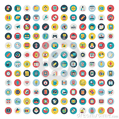 Set of vector network and social media icons. Flat