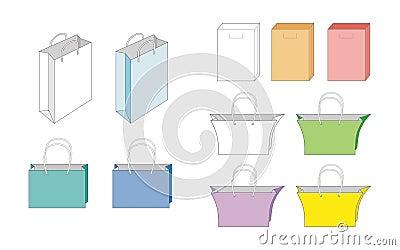 Set of vector paper bags