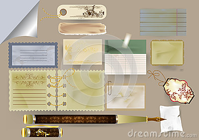 Set of vector paper objects for scrapbooking