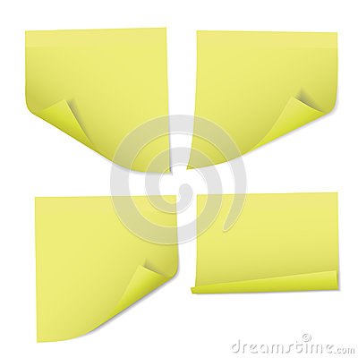 Set of vector realistic illustrations of yellow note papers with Vector Illustration