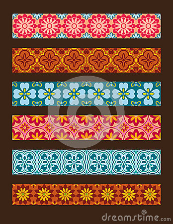 Set of vector seamless floral ornaments