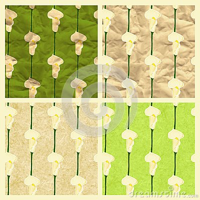 Set of vector seamless pattern with calla