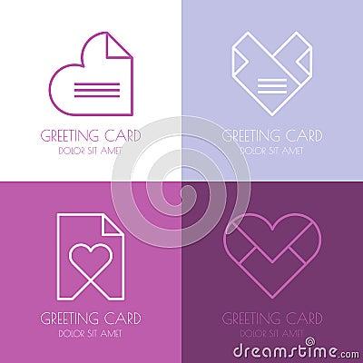 set of vector simple logo design template paper love letter he cartoon vector