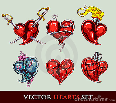 Set of vector tattoo stylized hearts