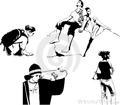 Set of vector teens black and white