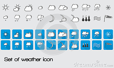 Set of vector weather icons for web