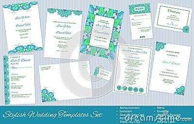 Set Of Vector Wedding Templates Stock Illustration