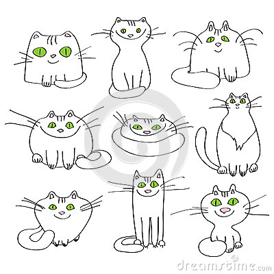 Set of vector white cats