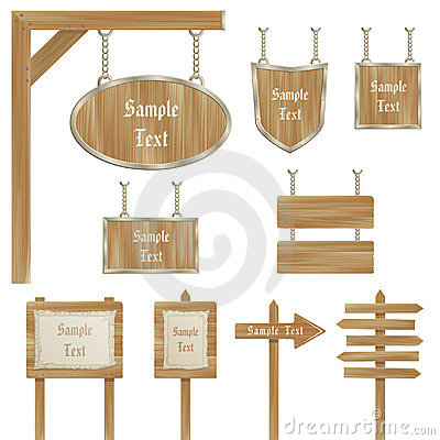 Set of vector wooden sign posts isolated on white