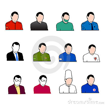 Set of vector work workers icons