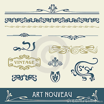 Free Set Vectors Art Nouveau Stock Photography - 23198402