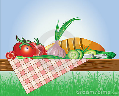 Set of vegetables with bread and tablecloth on nat