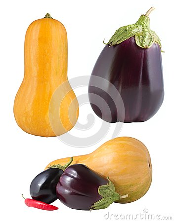 Set of vegetables isolated on white