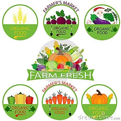 Set of vegetables logo templates Vector Illustration