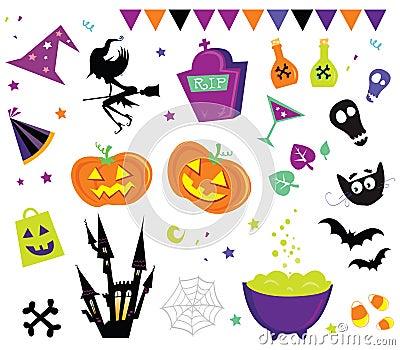 Set vektor för halloween symboler iii