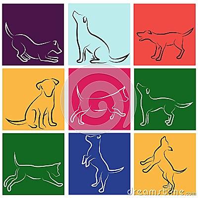 Set vektor för hund