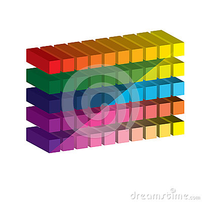 Set of vibrant glossy 3D cubes. .