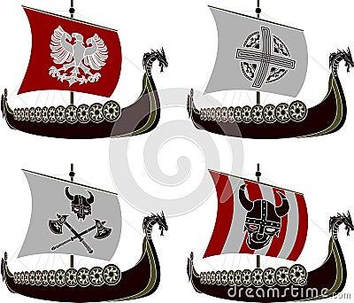 Set of viking drakkars