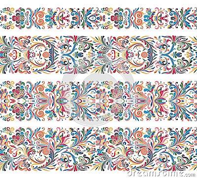 Set of vintage border brushes templates. Baroque floral elements for frames design and page decorations. Vector Illustration