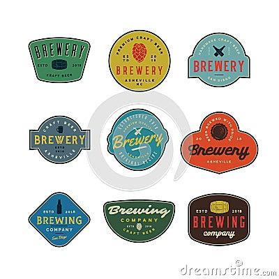 Set of vintage brewery logos. vector illustration Vector Illustration