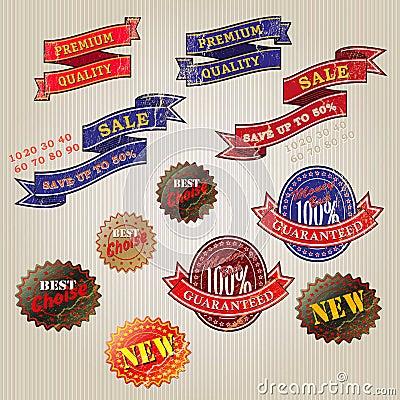 Set of vintage business labels