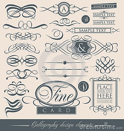 Set of vintage calligraphic design elements and vector page decorations.