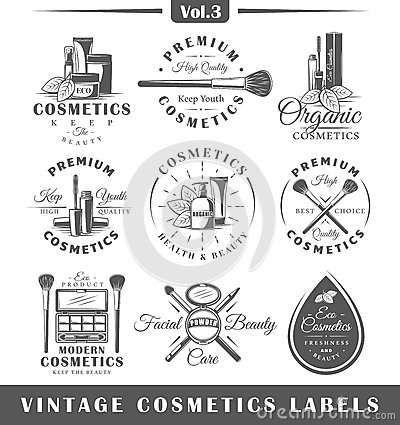Set of vintage cosmetics labels, logos Cartoon Illustration