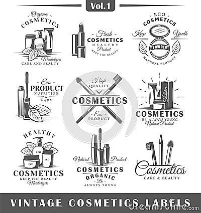 Set of vintage cosmetics labels, logos Cartoon Illustration