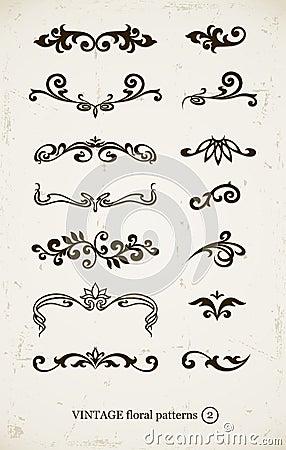 Set of vintage decorative patterns