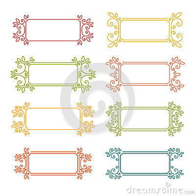 Set Of Vintage Frames. Frame With Swirls And Decor Of The Leaves ...