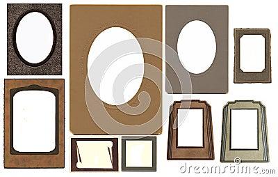 Set of vintage frames isolated on white