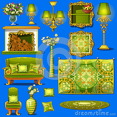 Free Set Vintage Furniture Upholstered In Green Stock Photos - 61174123