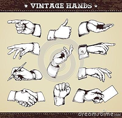 Set of vintage hands