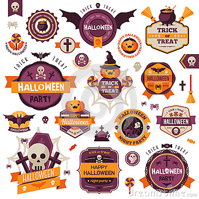 Set Of Vintage Happy Halloween Badges and Labels Vector Illustration