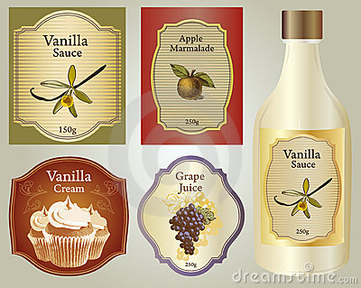 The set of vintage labels