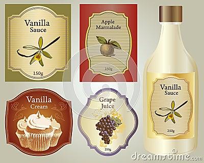 The set of vintage labels