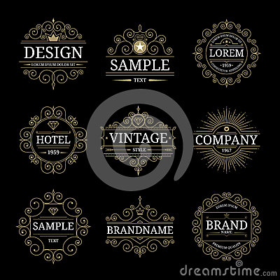Set of vintage luxury logo templates Vector Illustration