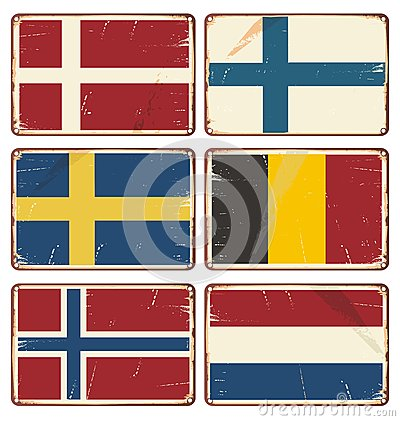 Set of vintage metal signs with flags