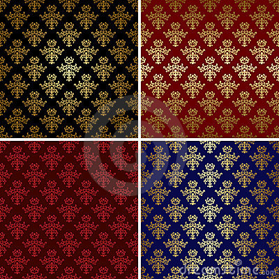 Set of vintage patterns with gold tracery - eps