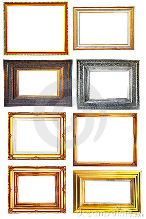 Set of vintage photo wood frame