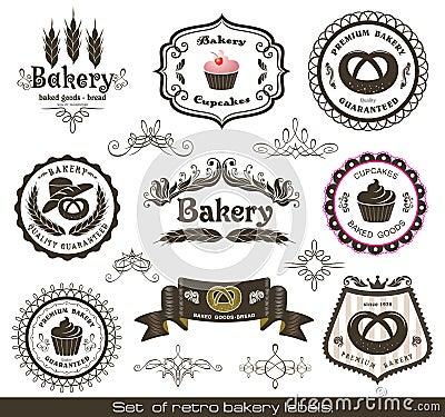 Set of vintage retro bakery labels