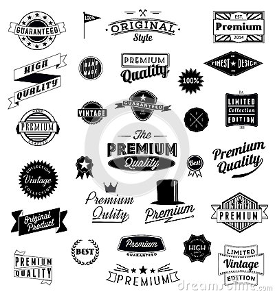 Set of Vintage styled design icons and banners.