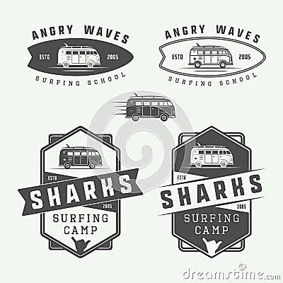 Set Of Vintage Surfing Logos Emblems Badges Labels Cartoon Vector