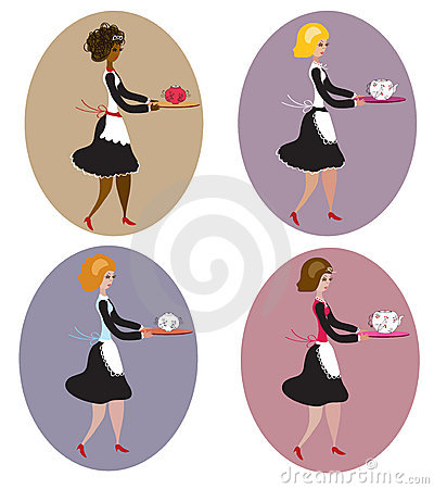 Set of vintage waitresses