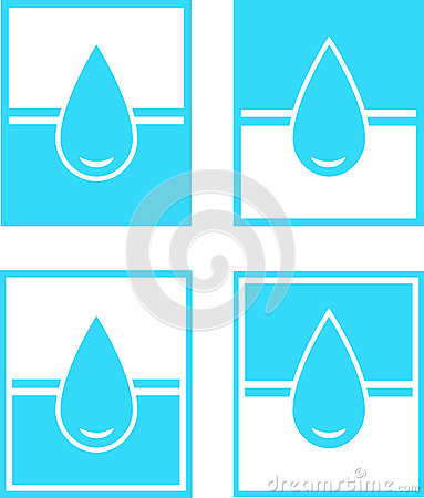 Set of water drop sign in frame