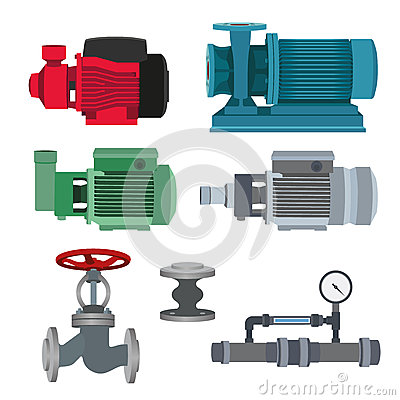 Free Set-water Motor, Pump, Valves For Pipeline. Vector Royalty Free Stock Images - 68709669