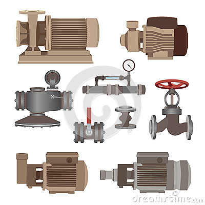 Free Set-water Motor, Pump, Valves For Pipeline. Vector Royalty Free Stock Image - 68709686