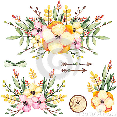 Set Of Watercolor Bouquets With Flowers And Arrows Stock Photo