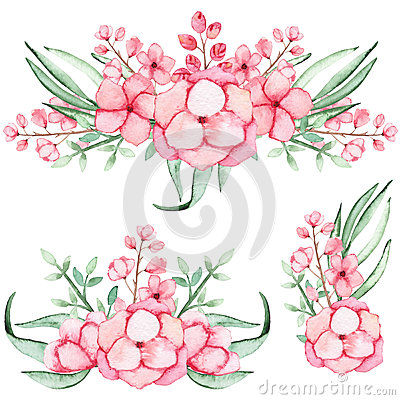 Set Of Watercolor Bouquets With Pink Flowers and Leaves Stock Photo